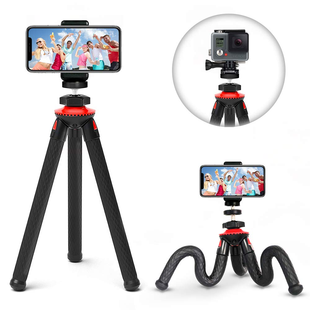 Phone Tripod, ELOKI Flexible iPhone Tripod/Camera Tripod with Gopro Adapter, Phone Mount Adapter, Bluetooth Remote Control for Canon Nikon Sony DSLR Cam Gopro Action and iPhone Samsung Phones