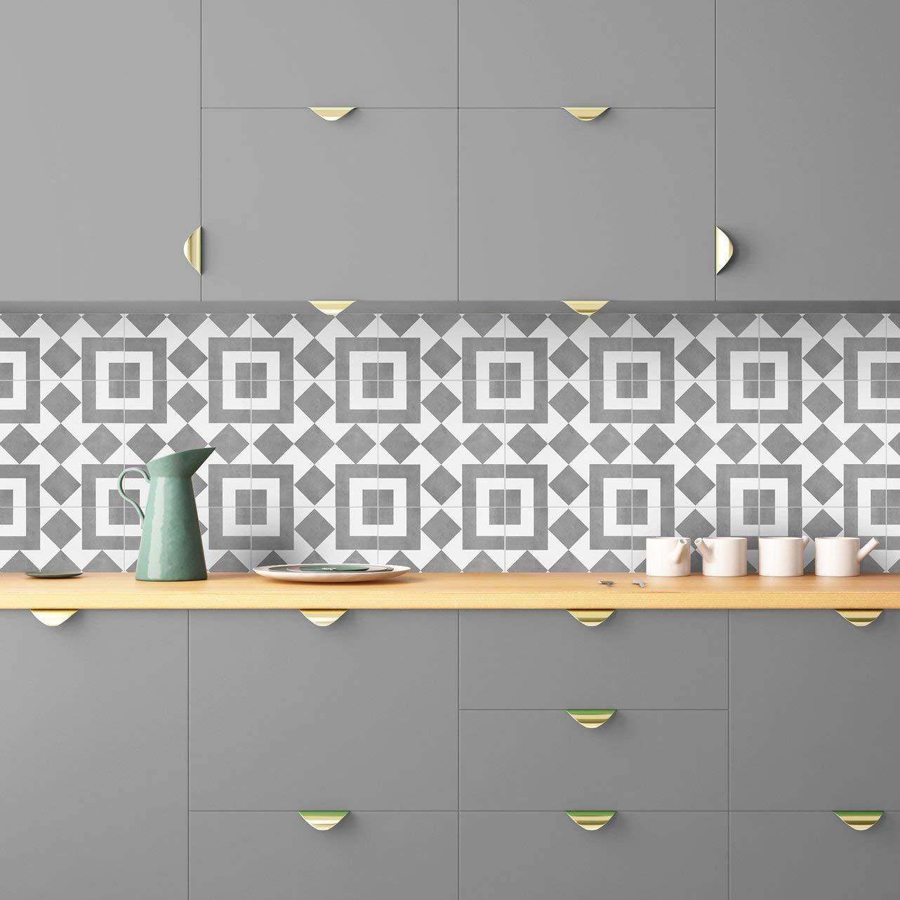 MoonStickers Fliesenaufkleber Decals - Packung mit mit mit 10 Fliesenaufkleber - 10 Einzelne Fliesen - Fliesenaufkleber (Fußboden - 33 x 33 cm, grau and Weiß Portuguese Fliesenaufkleber) B07JMD7HVG Wandtattoos & Wandbilder 810c70
