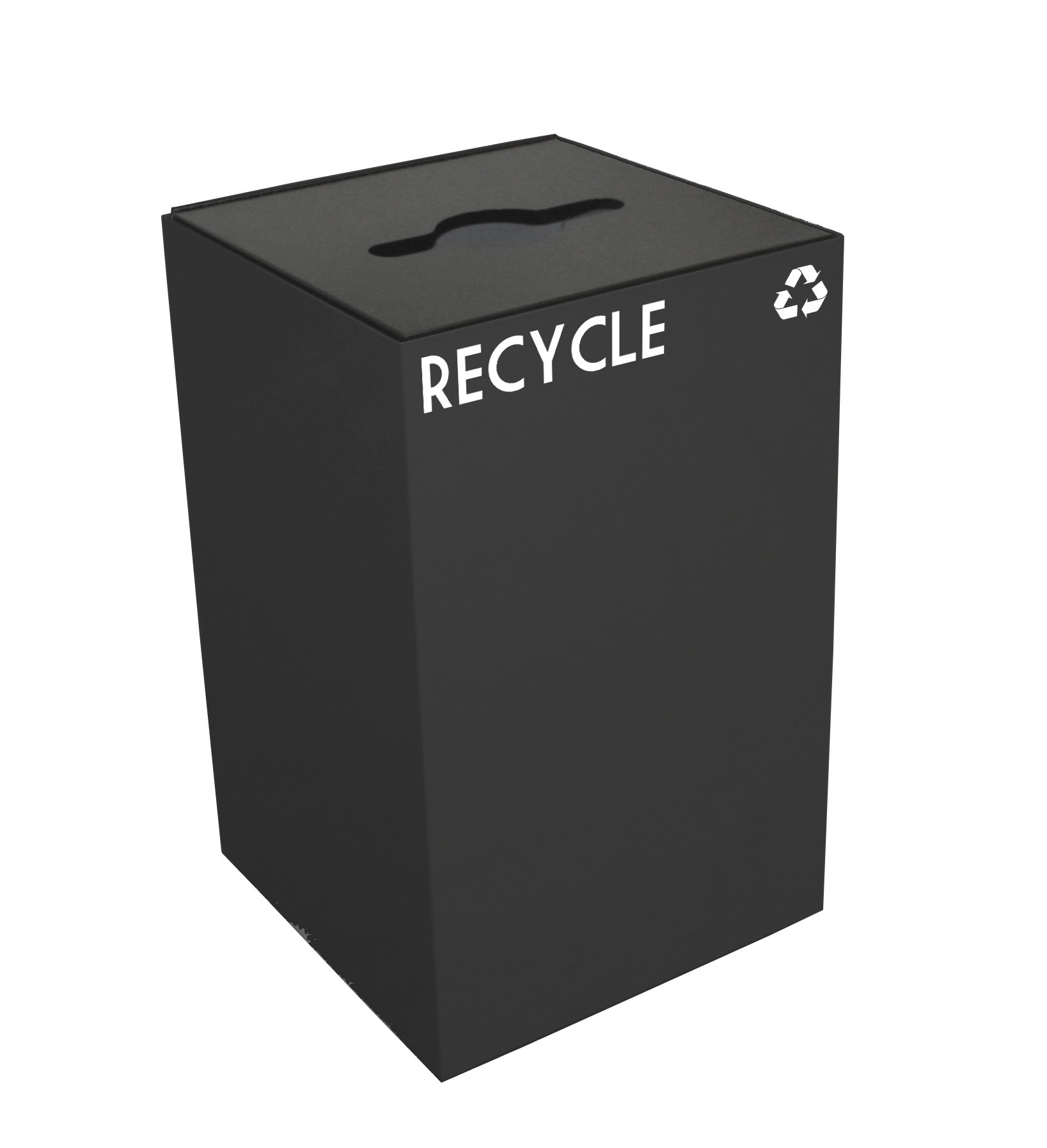 Witt Industries 24GC04-CB GeoCube Recycling Receptacle with Combination Slot/Round Opening, Steel, 24 gal, Charcoal
