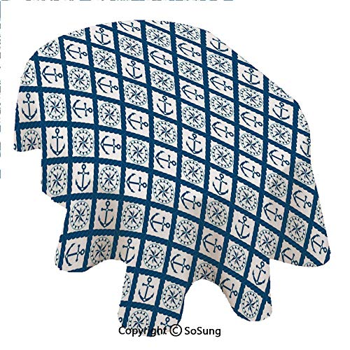 (SoSung Navy Oval Polyester Tablecloth,Nautical Pattern with Anchor and Windrose in Rope Stripes Navigation Sea Adventure,Dining Room Kitchen Oval Table Cover, 60 x 84 inches,Indigo White)