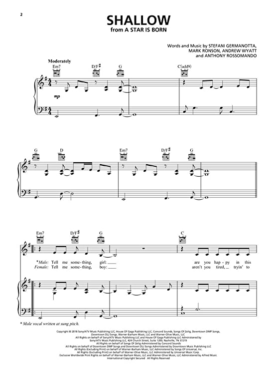 graphic about Lost Boy Piano Sheet Music Free Printable called : Female Gaga - Shallow (towards A Star Is Born