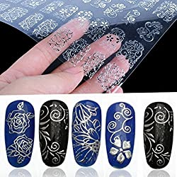 Lowpricenice 108Pcs 3D Silver Flower Nail Art Stickers Decals Stamping DIY Decoration Tools