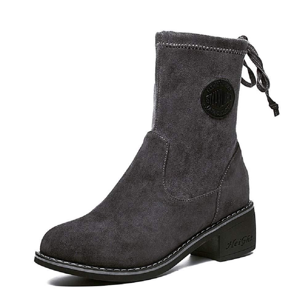 Gaslinyuan Chaussure mi-Mollet à Lacets en Cuir pour pour Femmes (Couleuré   gris, Taille   EU 39)  trouvez votre favori ici