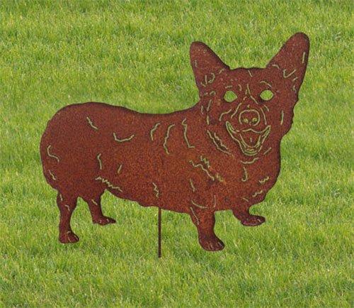 - Pembroke Welsh Corgi Garden Stake / Yard Art / Lawn Ornament / Metal / Cut Out / Spike / Shadow / Silhouette / Pet Memorial