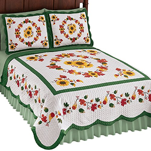 (Collections Etc Elegant Fall Sunflowers Quilt with Leaf Garlands, Quilted Stitching, Scalloped Edge, Yellow, Full/Queen)