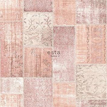 Kreidedruck Eco Texture Vliestapete Orientalischer Marrakech  Kelim Patchworkteppich Pfirsich Orange Pfirsich Rosa   148651