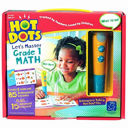 Educational Insights Hot Dots Let's Master Grade 1 Math Set with Talking Pen