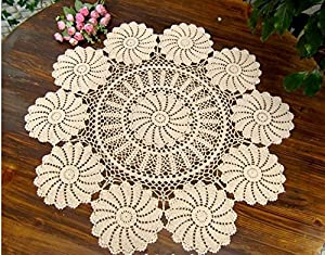 Guchina Tablecloths Crochet Round Table Cover Lace Table Covering Doilies For