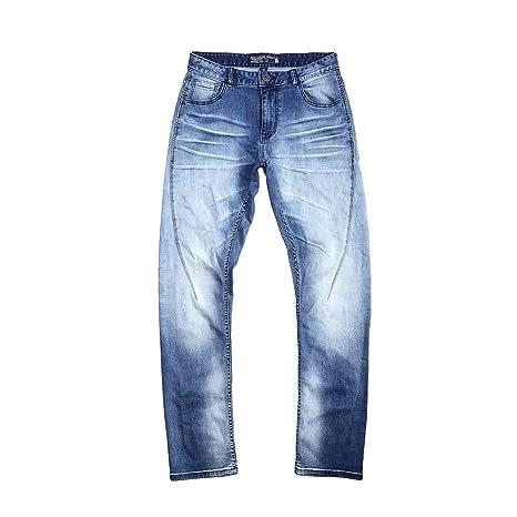 Chlyuan Jeans de Hombre Vaqueros Rectos elásticos Ajustados ...