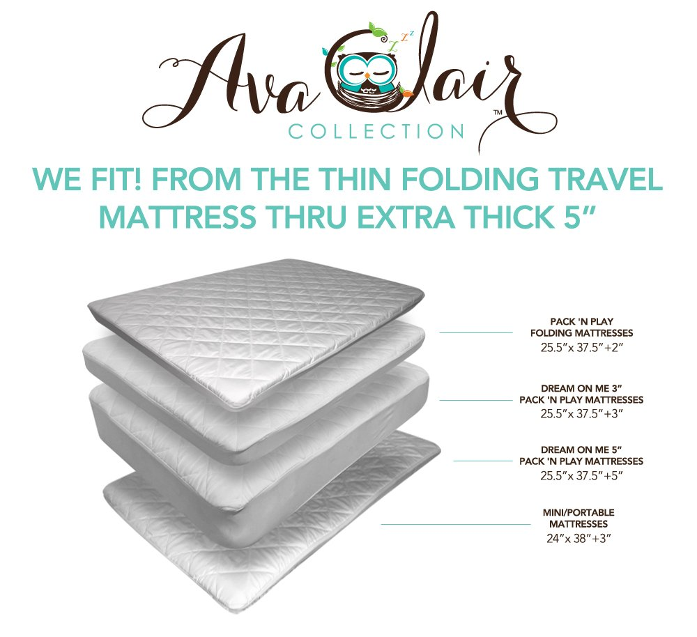 Amazon.com : ACC Pack N Play Crib Mattress Pad Cover Plus BONUS Changing Pad  Liner, Waterproof & Dryer Friendly. Best Fitted Crib Protector.