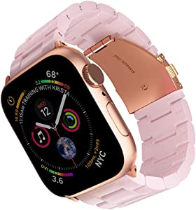 ARTCHE Resin Watch Band for Apple Watch Band 42mm 44mm Replacement Strap Lightweight Wristband Belt Compatible with iWatch Series 5/4/3/2/1, Nike+, Sport & Edition, with Stainless Steel Buckle, Pink