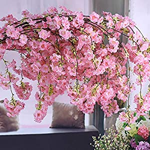 CANAFA-Home & Kitchen Artificial Flowers Artificial Silk Fake Flowers Cherry Blossom Floral Wedding Bouquet Party Decor 87