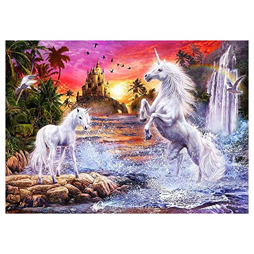 Whitelotous Two Unicorns Play 5D Diamond Embroidery Painting DIY Cross Stitch Kit Home Decor 16 x 12 Inch