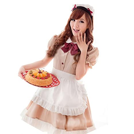 Image Unavailable. Image not available for. Color  Maid cafe wind maid  cosplay maid cafe mocha color costume costumes Gothic Lolita ... 68eb7e84cf19