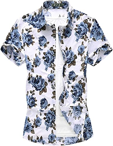 FTIMILD Camisa de manga corta para hombre, estampado floral, hawaiano, para natación, vacaciones, playa, para hombre