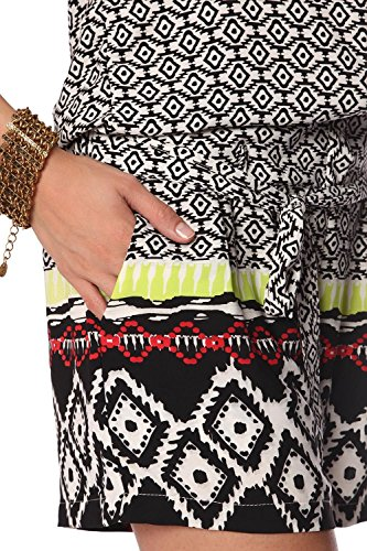 Q2 Femme Combishort ample à imprimée noir et ceinture à nouer