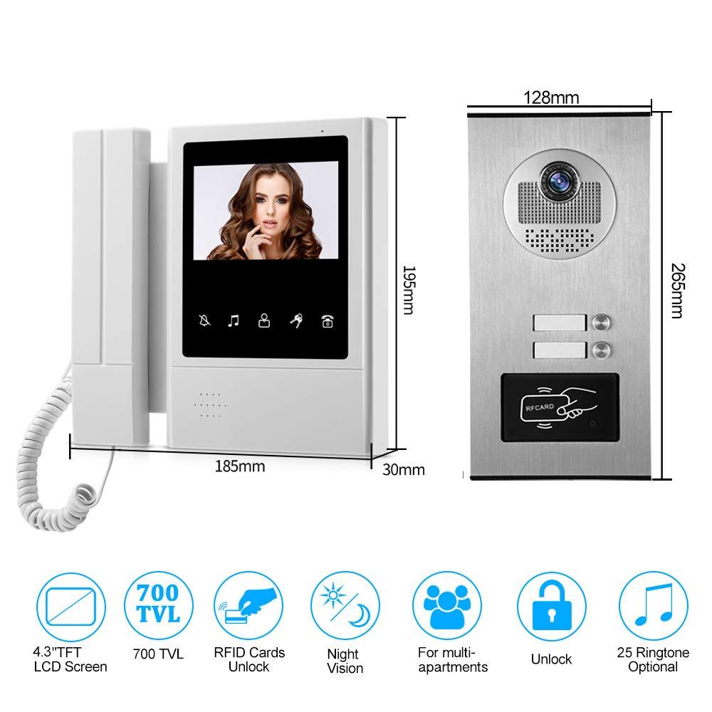 3 monitor da interno per 3 appartamenti//casa HFeng Kit videocitofonico 4.3a colori Videocitofono con telecamera di accesso RFID
