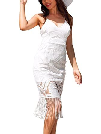 b95b9fd631dbc YiyiLai Robe à Bretelle Femme Dentelle Dos Nu sans Manche avec Frange Plage  Soirée Elégant: Amazon.fr: Vêtements et accessoires
