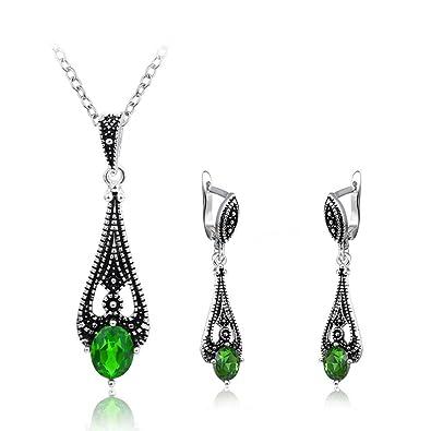 0b86f711e9025 Teniu Fashion Crystal Pendant Necklace Earring Set Rose Gold Jewelry Set  for Women Girls