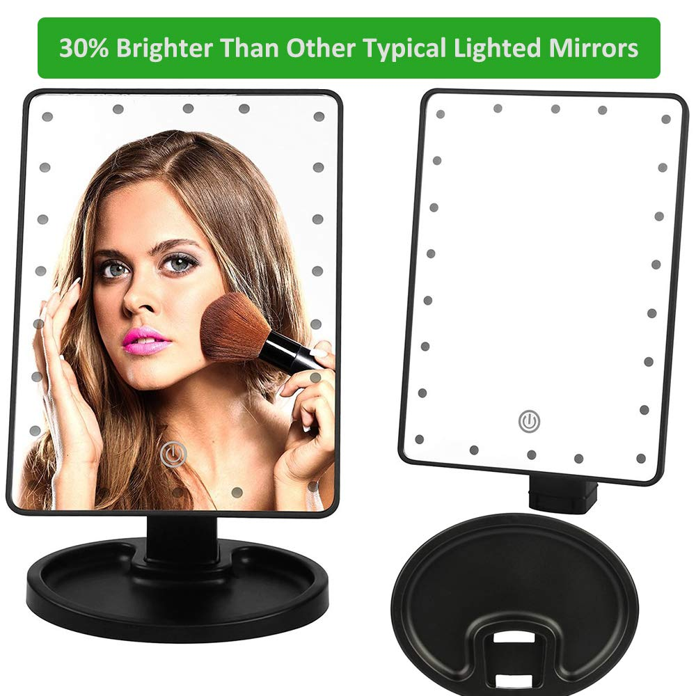 Quiklet LED Lighted Makeup Mirror 22 LED Vanity Cosmetic Mirror, Touch Screen Light Adjustable Dimmable Daul Power Supply 360°Rotation with Detachable 10X Magnification Spot Mirror(Black)