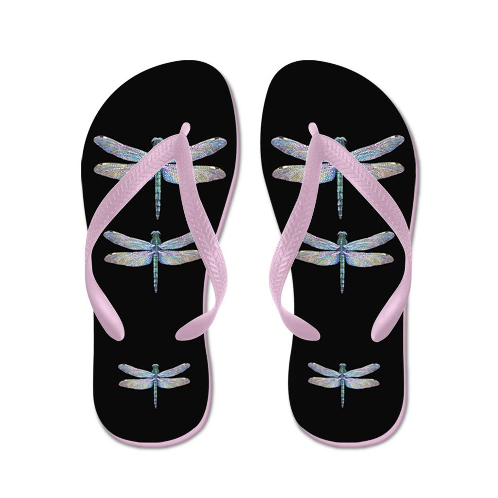Lplpol Dragonflies On Black Flip Flops for Kids and Adult Unisex Beach Sandals Pool Shoes Party Slippers