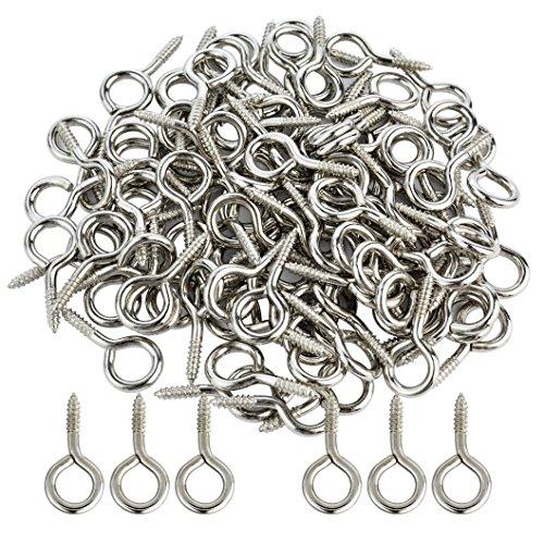 Small Screw Eye 100PCS 1 inch Silver Color Zinc Plated Metal Cup Hooks Eye Shape Screw Hooks Self-Tapping Screws Hooks Ring by Korty (Bolt Eye Short)