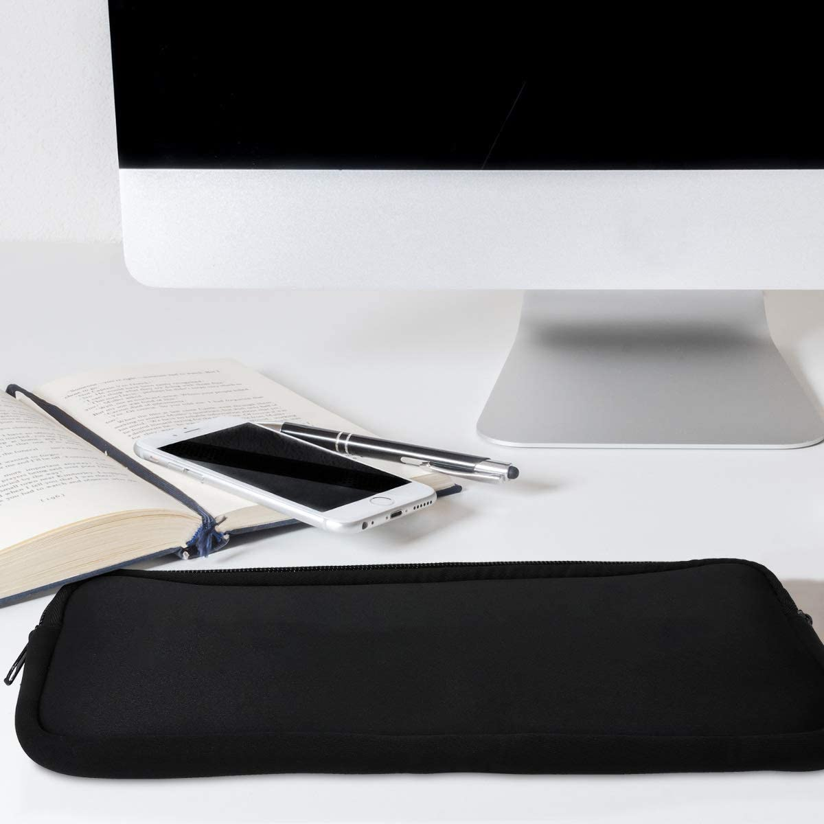Black kwmobile Neoprene Pouch Compatible with Apple Magic Keyboard Keyboard Protector Dust Cover with Zipper