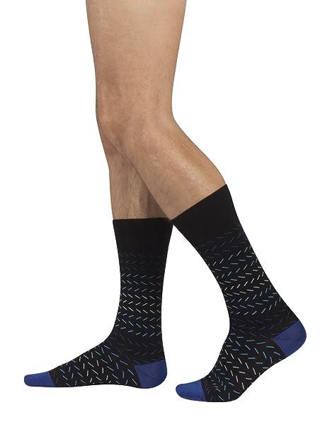 Calcetines de Algodón para Hombre | Calzetines Comodos y Elegantes | Fantasia Geometrica | Negro |