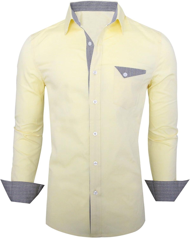 HRYfashion Mens Trendy Slim Fit Inner Contrast Longsleeve Button Down Shirt