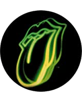 """Rolling Stones - Neon Green Tongue Logo on Black - 1 1/4"""" Button / Pin"""