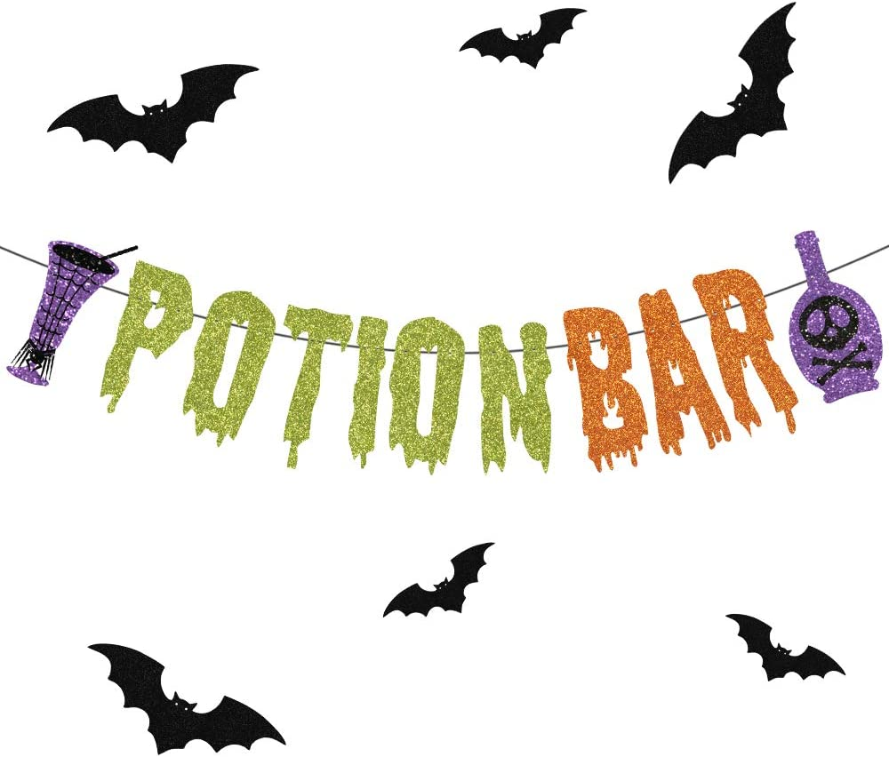 Halloween Banner, Poison Bar Halloween Party Decorations with Bat Sign, Haunted Houses Doorways Home Indoor Outdoor Mantle Decorations Supplies