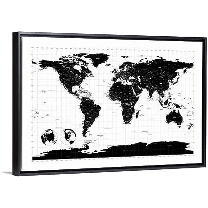 Amazon.com: World Map with Longitude and Latitude Lines ...