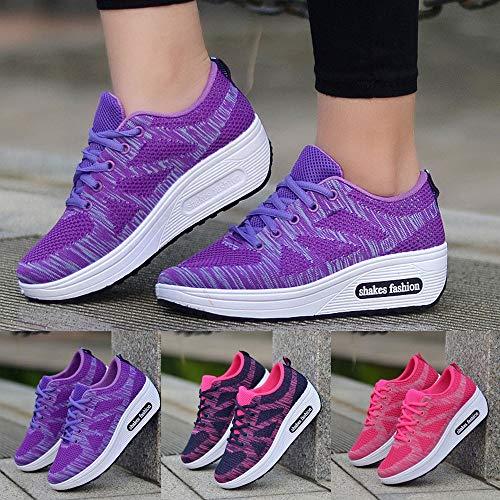 Tefamore Cómodos Plataforma Mujer Aptitud Zapatos Para Negro De Ligero Cuña Calzo Exterior Zapatillas Deportivo Sneaker Calzado gqHgUwS