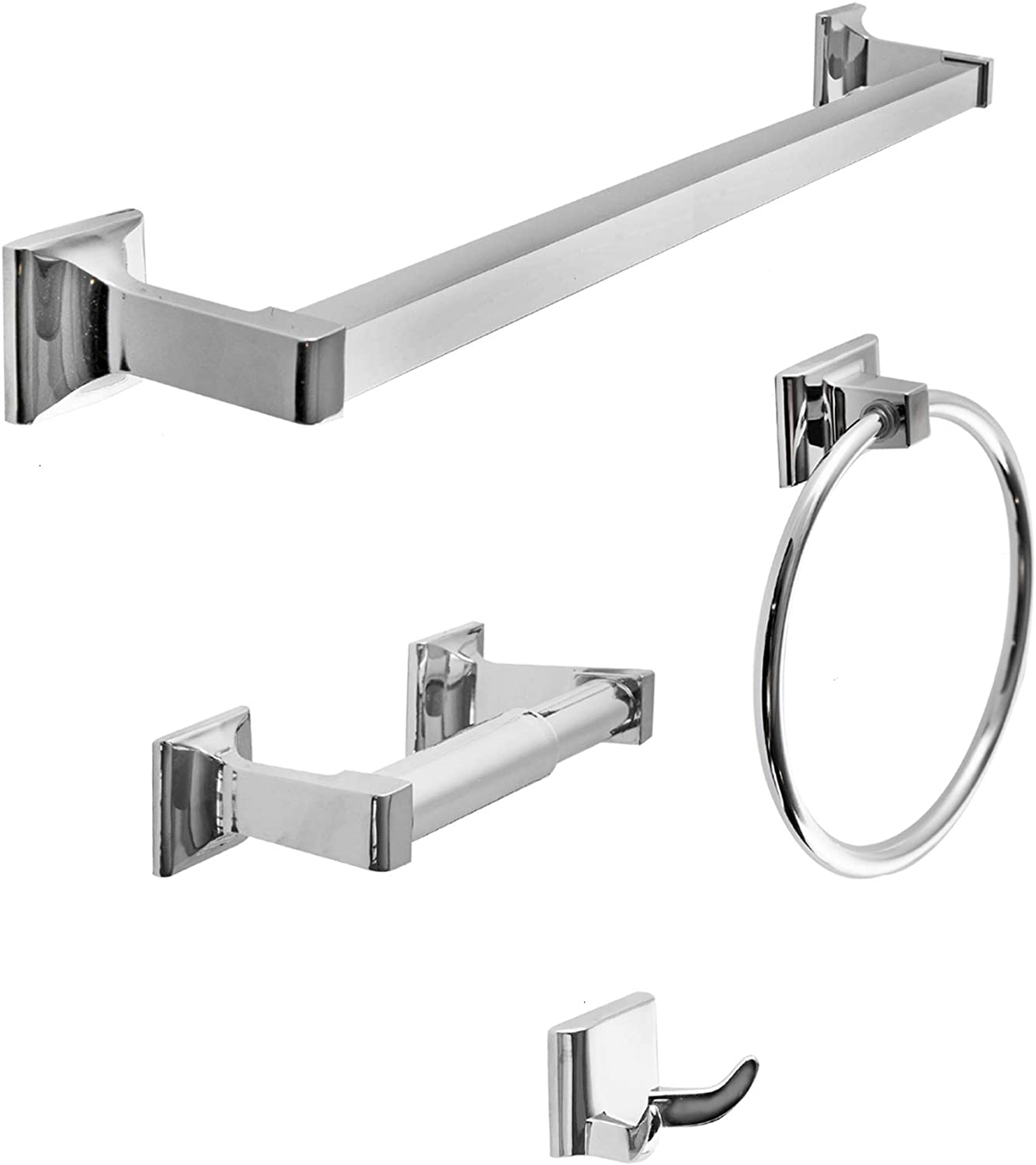 """SENTO Cellar Classic Bathroom Accessories Set, Heavy Duty Metal Bath Hardware Set Wall Mounted, Includes Robe Hook, Standard Toilet Paper Holder, Towel Ring, 24"""" Towel Bar (4-Piece, Polished Chrome)"""
