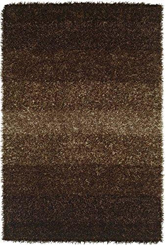Brown Rug Striped Shag/Shaggy Gradient 8'x10' (Large 8x10) Handmade Carpet