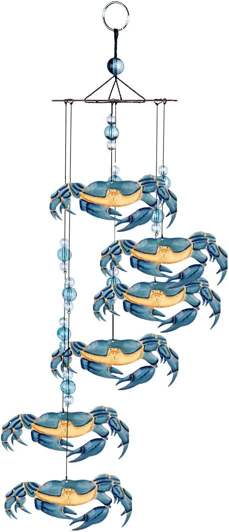 "Sunset Vista Designs Kathy Hatch Great Outdoors Land and Sea Collection 18"" Garden Wind Chime - Blue Crab"