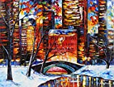 SNOW IN NEW YORK is an Original Oil Painting on Canvas by Leonid Afremov Picture