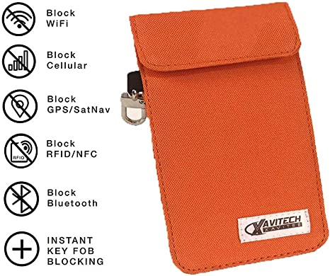 XAVITECH Car Key Signal Blocker Pouch +Key Holder Faraday Pouch for Car Keys and Credit Cards RFID Signal Blocker Made Nano Blocking Fabric With Built-in Clips Anti-Theft Carbon Fibre fobs
