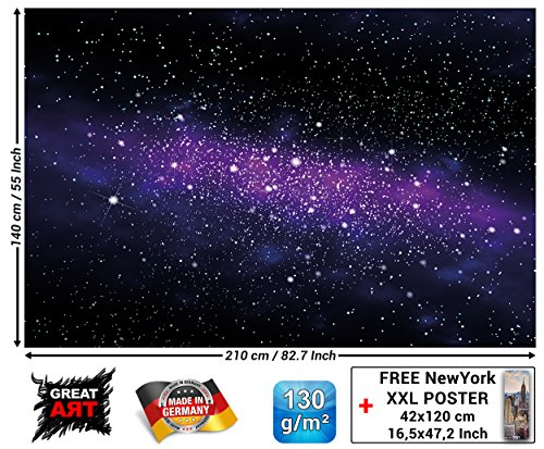 Children's Room Mural - Galaxy Stars - Wall Picture Decoration Outer Space Sky Universe Cosmos Starry Sky Milky Way Super Nova Wallpaper Photoposter (82.7 x 55 Inch / 210 x 140 cm) (Furniture Jupiter Stores)