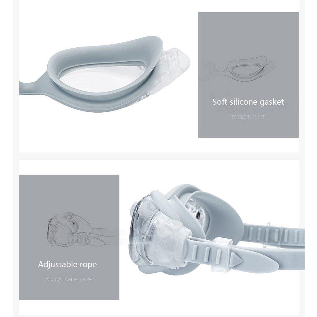 Wasserdichte UV-Schwimmbrille, UV-Schwimmbrille, UV-Schwimmbrille, HD-Anti-Fog-Schwimmlinse, verstellbare Komfort-Silikon-Stirnbänder geeignet für Freizeit Fitness Erwachsene, Unisex ZHOU LI B07CK2SMMV Schwimmbrillen Starke Hitze- und HitzeBesteändigkeit 2e7f33