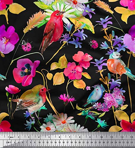Soimoi Pink Cotton Duck Fabric Leaves,Floral & Robin Bird Printed Fabric 1 Yard 56 Inch Wide