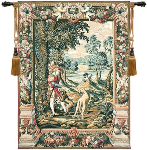 Tapestry, Extra Large, Tall - Elegant, Fine, French & Wall Hanging - Awaiting the Chase, H56xW45