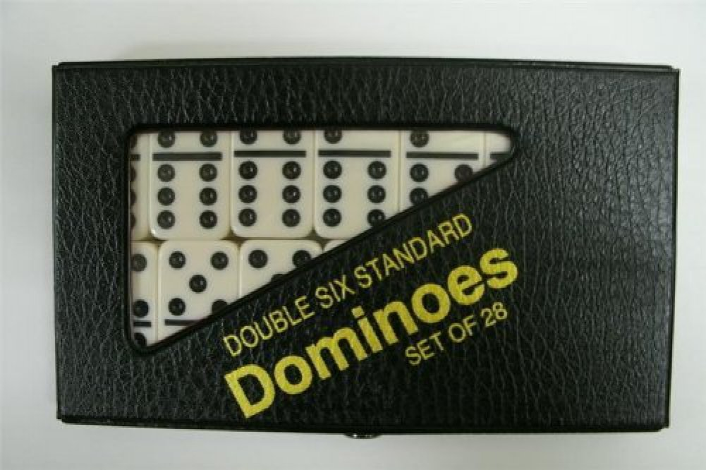 Double Six Standard Dominoes Set of 28 Ivory Tiles W/black Pips