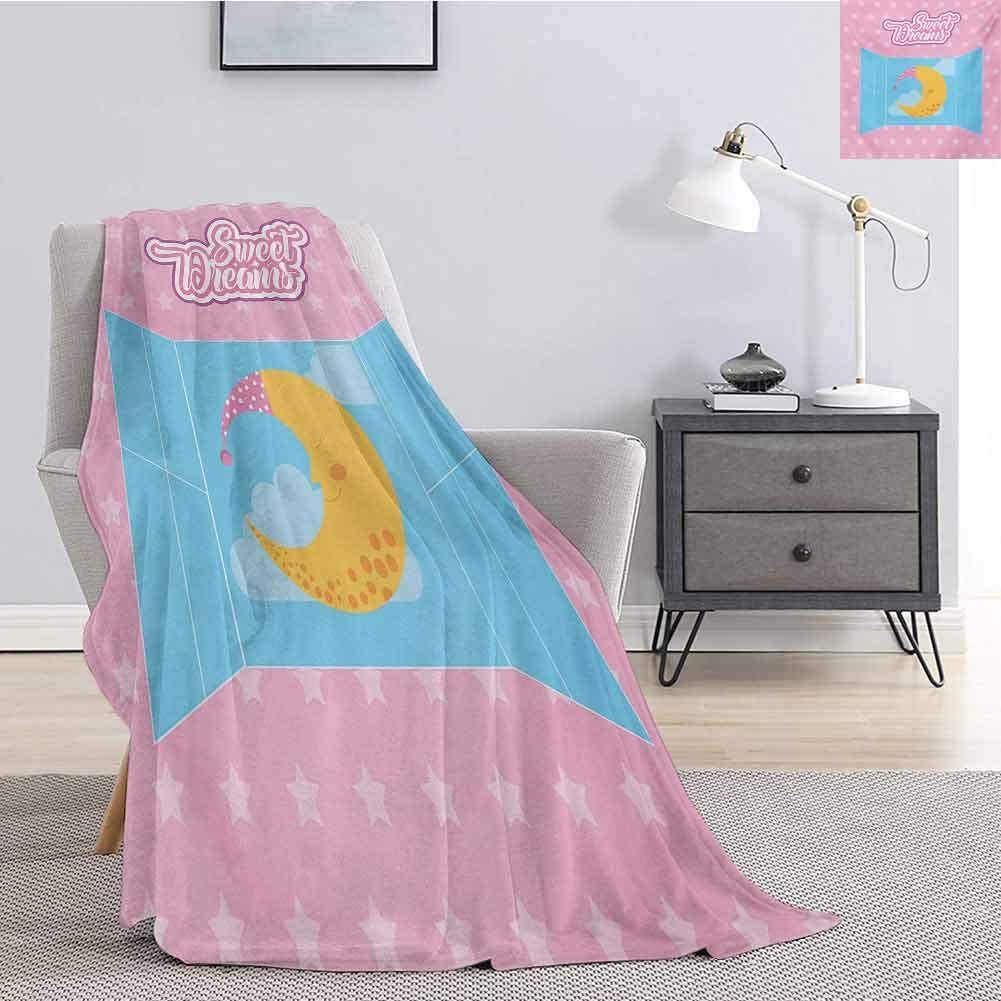 Tr.G Sweet Dreams Bedding Microfiber Blanket Pink Starry Backdrop with Open Window and Sleeping Moon in Sky Super Soft and Comfortable Luxury Bed Blanket W70 x L70 Inch Pink Yellow and Pale Blue