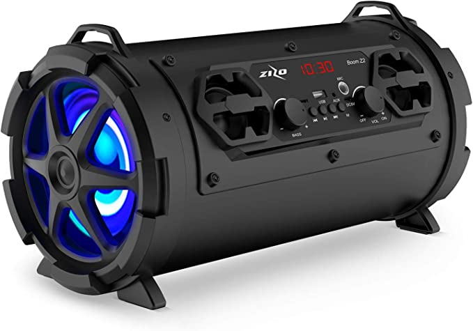 Amazon.com: ZIZO Boom Z2 Wireless Speaker with LED Lights, TF Card, USB Playback, Aux Line-in, 1500mAh Rechargeable Battery, 20W Output and FM Radio Black