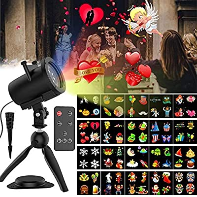 Halloween Light Projector, 20 Slides Waterproof IP65 Landscape Motion Projector Lights with Remote Control, 32ft Power Cable for Decoration Lighting on Christmas Halloween Holiday Party