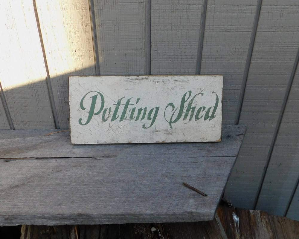 43LenaJon PrimitiveVintage Sign - Potting Shed Wood Sign Decor for Garden,Rustic Wooden Hanging Sign Farmhouse Welcome Label