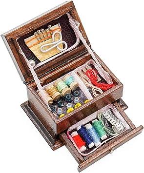 Amazon.es: Odoria 1/12 Miniatura Caja de Coser Decorativo para Casa de Muñecas: Juguetes y juegos