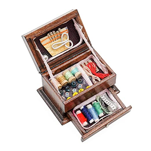 Amazon.es: Odoria 1/12 Miniatura Caja de Coser Decorativo para ...