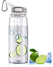 BOTTLED JOY Sports Water Bottle with Straw and Handle, 100% BPA-Free DustProof Cap Water Bottles for Outdoor Hiking Camping 27oz 800ml